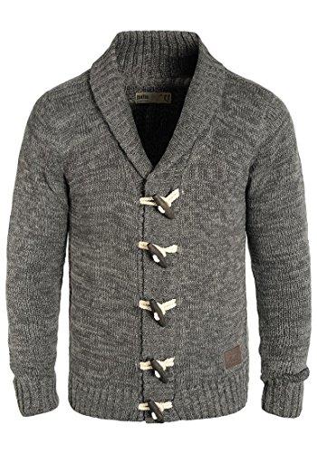 !Solid Prewitt Herren Strickjacke Cardigan Grobstrick Winter Pullover mit Schalkragen, Größe:L, Farbe:Dark Grey (2890)