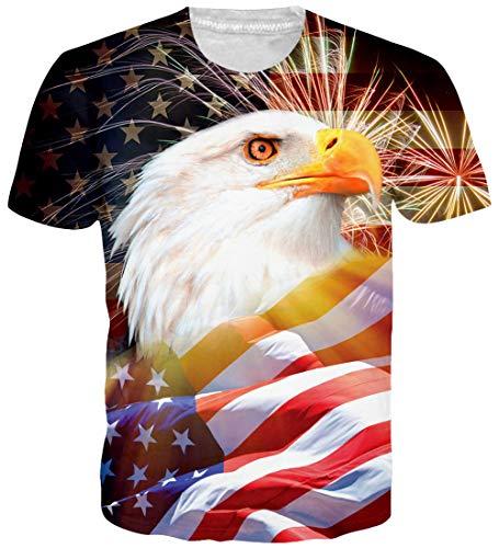 Loveternal Herren USA Eagle T-Shirt 3D Muster Gedruckt Casual Grafik Kurzarm Tops Tees S -