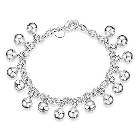 Pmany Charmant Mode Plaqué argent sterling 925Bracelet Jingle Bells Perle Bracelet à breloques Lady Bijoux