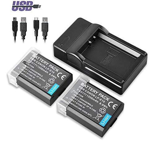 PHOTO MASTER 2X LP-E10 Baterías + USB Cargador Canon