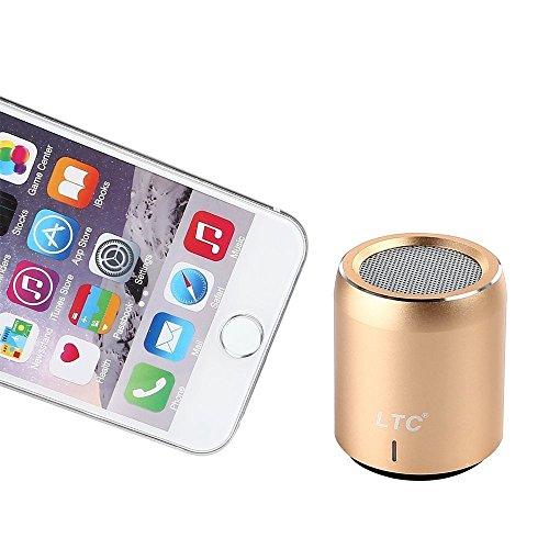 LTC Mini Tragbar Wireless Bluetooth 4.1 Super Bass Stereo HiFi 3.5mm NFC 360 Grad Ton LED CSR-Chip USB WiFi Speaker Lautsprecher MP3 Player Gold