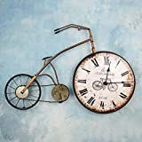 BiuTeFang Reloj de Pared Silencioso,Moderno Decorativo Creativo Bicicletas 57.5x38x6CM Color Retro