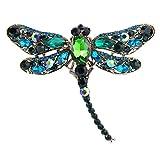 ODN Exquisite Libelle Eingelegte Rhinestones Legierung Brosche Pin Corsage Frauen Mädchen Schal Kleid Zubehör (Pfau grün)