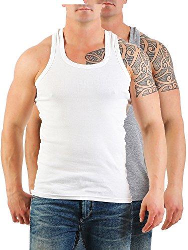 2er Pack Herren Tank Top Unterhemd Muskelshirt Ramboshirt Nr. 452 Weiß-Grau