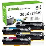 Aztech 4 Pack XXL M281fdw Toner (Neues Chip-Upgrade) Kompatibel für HP 203X 203A CF540A CF540X-CF543X Toner für HP MFP M281 fdw MFP M281fdn M280nw M280 M254dw M254nw M254 HP Color LaserJet Pro M281fdw Multifunktions-Farblaserdrucker