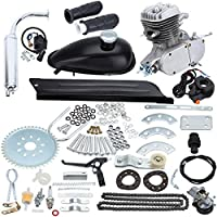 Sange 2 Stroke Pedal Cycle Petrol Gas Motor Conversion Kit Air Cooling Motorized Engine Kit for Motorized Bike (Plata, 80cc)