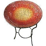 """Ancient Graffiti AG-17041 Red & Gold Tile Mosaic Bird Bath, 16"""" x 22"""" x 1"""""""
