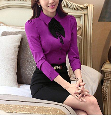 Cheerlife Elegant Damen Langarm Bluse mit Schleife Hemdbluse Slim Fit OL Business Oberteil Lila