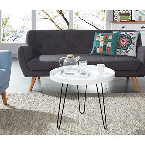 LEONTINE Table basse ronde 48x48 cm - Laqué blanc satiné