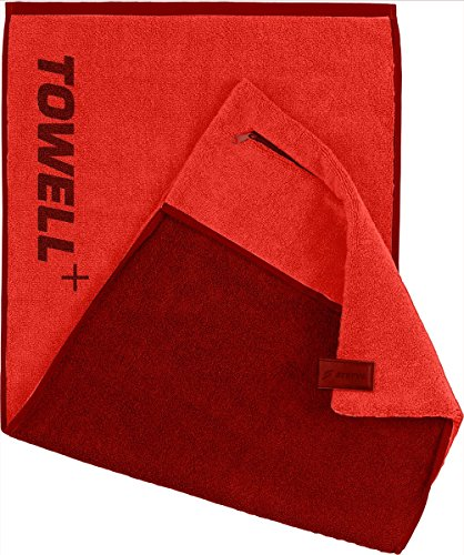 L'asciugamano towell+ stryve con tasca, clip magnetica e protezione antiscivolo - l'asciugamano per lo sport