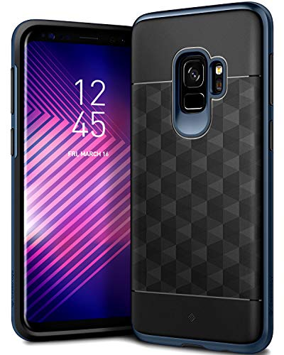 Caseology Parallax Series Case Designed for Galaxy S9 with Slim Fit Geometric Cover and Enhanced Drop Protection for Samsung Galaxy S9 (2018) - Black/Deep Blue