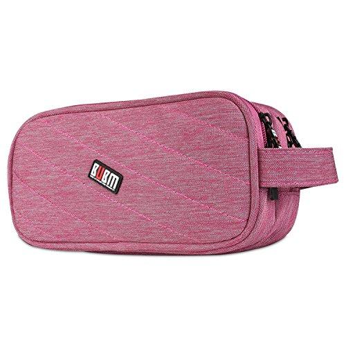 Double Layer Tragetasche Travel Organizer Taschen für elektronische Zubehör USB Kabel Akku Power Bank Telefon Ladegerät und Kosmetik Rose (Elektronische Kabelbinder)