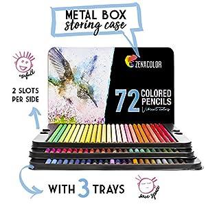 51srsCxXrCL. SS300  - Lpices-de-Colores-72-120-con-Caja-de-Metal-de-Zenacolor-72-y-120-Colores-nicos-Fcil-Acceso-con-Bandejas-Conjunto-Ideal-para-Artistas-Adultos-y-Nios