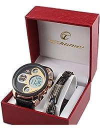 Giorgio & Dario - Conjunto de reloj y pulsera para hombre, reloj de diseño Only The Brave con gran esfera, color dorado