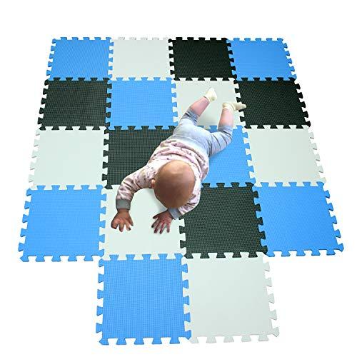 bodenmatte Kinder Matte Play puzzelmatten puzzlematten schadstofffrei spielmatte Teppich Weiß-Schwarz-Blau 101104107 ()