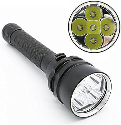 SOOJET DF05 5x CREE XML L2 LED de buceo ligero salto de la linterna - 7500 lúmenes linterna impermeable - linterna interruptor magnético variable con 18650 baterías recargables y correa para la muñeca - buceo a 100 metros