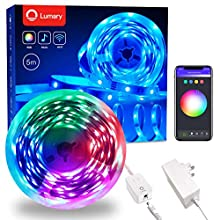 LED Strip Lights 5M (16.4 ft) Lumary 4pin RGB SMD 5050 Alexa LED Light Strips Suitable for Living Room Kitchen TV Backlight and Festival Decorative [Alexa and Google Assistant Available]