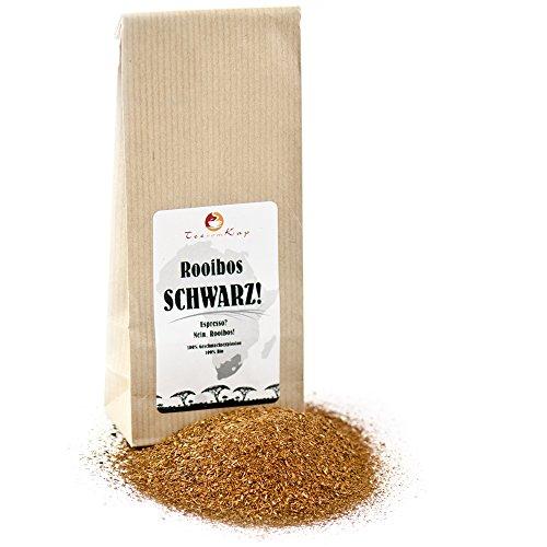 TeeVomKap Bio Rooibos Espresso SCHWARZ, 500g, koffeinfreie Espresso Alternative, Rotbuschtee verwendbar wie Espressopulver oder Kaffee, als Basis für Cappuccino, Latte Macchiato und Co - Bio