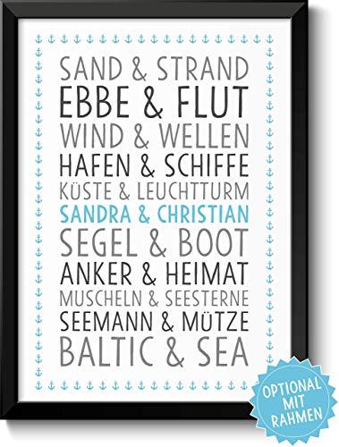 DU & ICH Baltic Sea - maritimes Bild für Paare Ehepaare Geschwister Eltern Freunde - Rahmen optional - Geschenkidee Weihnachten Geburtstag Jahrestag Hochzeitstag Hochzeit