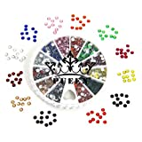 PUEEN 3d Nail Art Wheel of Round Brilliant 14 Cut 3mm - 10ss Resin Rhinestones Studs in 12 Different Colors for Cellphones & Nails Decorations