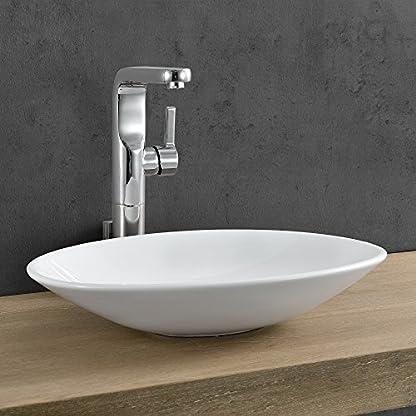 [neu.haus]® Lavabo cerámico lujoso en forma ovalada – (50×35,5cm) Blanco – lavabo sobre encimera