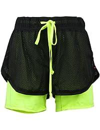 JNTworld Femmes Actives Séchage Rapide 2-in-1 Shorts Sport Yoga Jogging Hot Pant