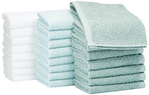 AmazonBasics Waschlappen aus Baumwolle, 24er-Pack - Meeresgrün, Eisblau, Weiß