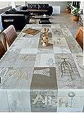 Nappe WJDhome en toile cirée/PVC grise, vintage, à motifs bois graphiques, facile à nettoyer, 140x 200cm