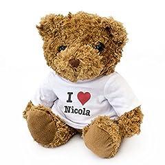 Idea Regalo - London Teddy Bears Orsacchiotto con Scritta in Lingua Inglese I Love Nicola, Carino e coccoloso, Idea Regalo per Compleanno, Natale, San Valentino