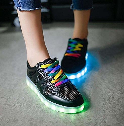 e LED Leuchtstoff Schuhe Paar Schuhe Plate Schuhe Tanz Schuhe Snekers Halloween Party Schuhe 2017 Herbst und Winter New Eu Größe 34-45 ( Color : Black , Size : 37 ) (Halloween Hawaii 2017)