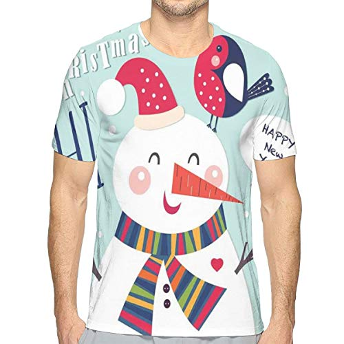 3D Printed T Shirts,Cheerful Merry Xmas Illustration with A Bird and Snowman Fun Winter Celebration M Merry Mushroom