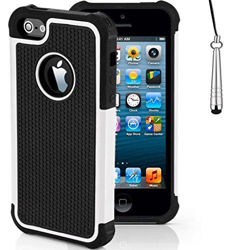 iCHOOSE iPhone SE antichoc Case robuste constructeurs robustes durables Couverture / Offres améliorée Grip avec Protector gratuit d'écran et New Stylet / Cas Covers et accessoires pour 2016 Apple iPho Blanc