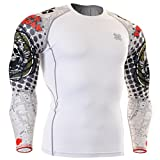 Fixgear Sports Herren Damen Running Kompression weiß Funktionsunterwaesche Tee Shirt