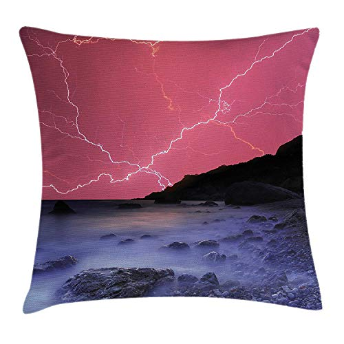 MLNHY Nature Throw Pillow Cushion Cover, Thunderstorm Bolts with Vivid Colorful Sky Like Solar Lights Phenomenal Ocean Picture, Decorative Square Accent Pillow Case, 18 X 18 inches, Pink Grey - J-bolt Kit