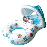 nhsunray Mutter und Baby Schwimmen Float Sicherheit Kinder Pool Water Toy Seat Schwimmen Ring mit Sonne Shelter Baldachin Dual Person Parent-Child Design