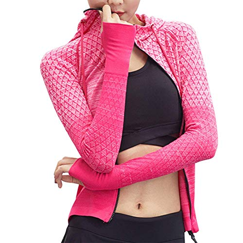 Asseny Damen Langärmelig Yoga Jacke Gradient Rendering Farbe Zipper Schnelltrocknender Sportkleidung - Rose rot, Large