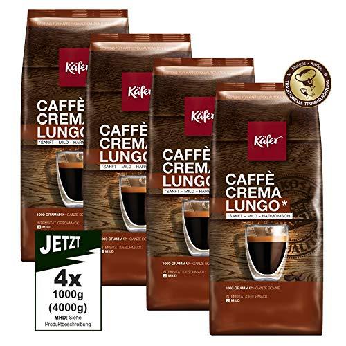 Käfer Caffé Crema SANFT-MILD Lungo Ganze Bohnen 4x 1000g - Premium Kaffee