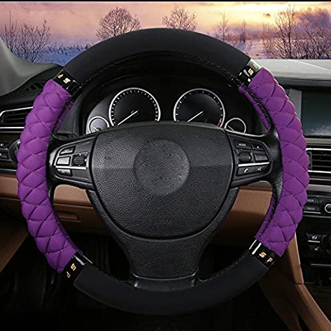 EarthSafe® Copertura del volante dell'automobile, universale 38 centimetri 3D Anti Slip Wrap Wheel Auto Steering (viola)