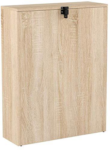 COMIFORT TC82 - Bureau mural pliable, table rabattable suspendue sur pied convertisseur, couleur blanc ou chêne