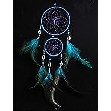 Ailiebhaus pequeña pluma azul del colector del sueño hecho a mano que cuelga atrapasueños