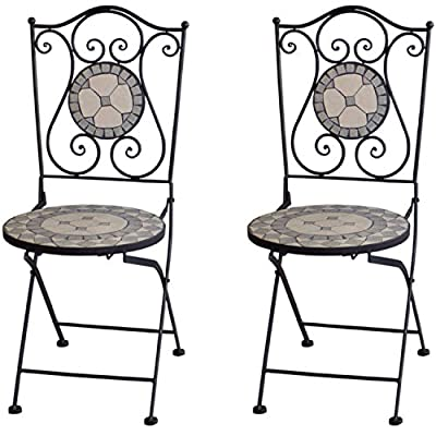 2 Stück Massiver Mosaik Gartenstuhl Mosaikstuhl Klappstuhl Grau/Weiß Gartenmöbel Balkonmöbel Terassenmöbel von Multistore 2002 - Gartenmöbel von Du und Dein Garten
