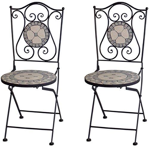2 Stück Massiver Mosaik Gartenstuhl Mosaikstuhl Klappstuhl Grau/Weiß Gartenmöbel Balkonmöbel Terassenmöbel