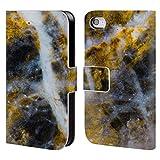Head Case Designs Offizielle PLdesign Gold Weiss Felsen Gewebe Und Funkel Brieftasche Handyhülle aus Leder für iPhone 4 / iPhone 4S