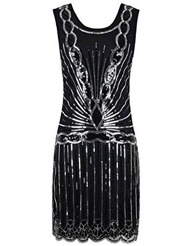 kayamiya Damen 1920er Pailletten Perlen Zurück tiefer V Gatsby Flapper Abendkleid XL Silber