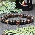 Bracelet homme Taille 19-20cm perles Ø 8mm pierre naturelle Agate motif Tibétain Hématite Bois Coco/Cocotier Fait main Made in France
