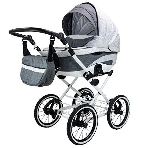 Springer Classic weiß | Kinderwagen 3 in 1 Kombikinderwagen | Retro | Luftreifen (Monaco)