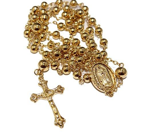 Diamantados of Florida Virgen de Guadalupe Rosario Collar 28 Pulgadas - Nuestra Señora de Guadalupe Rosario 18 K Chapado en Oro