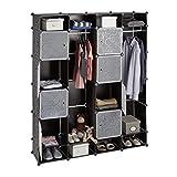 Relaxdays Kleiderschrank Stecksystem, 20 Fächer, Kunststoff, großer Garderobenschrank m. Muster, 180 x 146 cm, schwarz