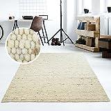 Moderner Handweb Teppich Alpina handgewebt aus Schurwolle für Wohnzimmer