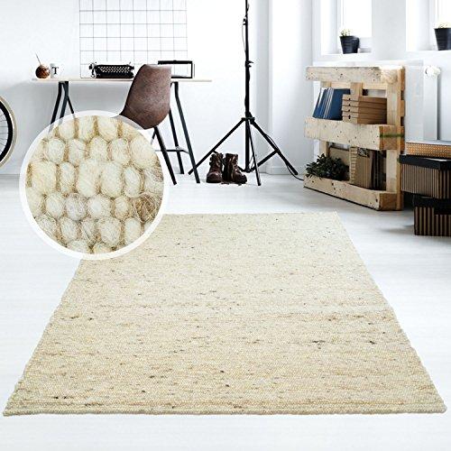 Moderner Handweb Teppich Alpina handgewebt aus Schurwolle für Wohnzimmer, Esszimme...